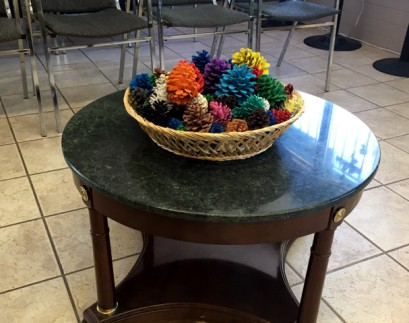 Pine cones as office decor.